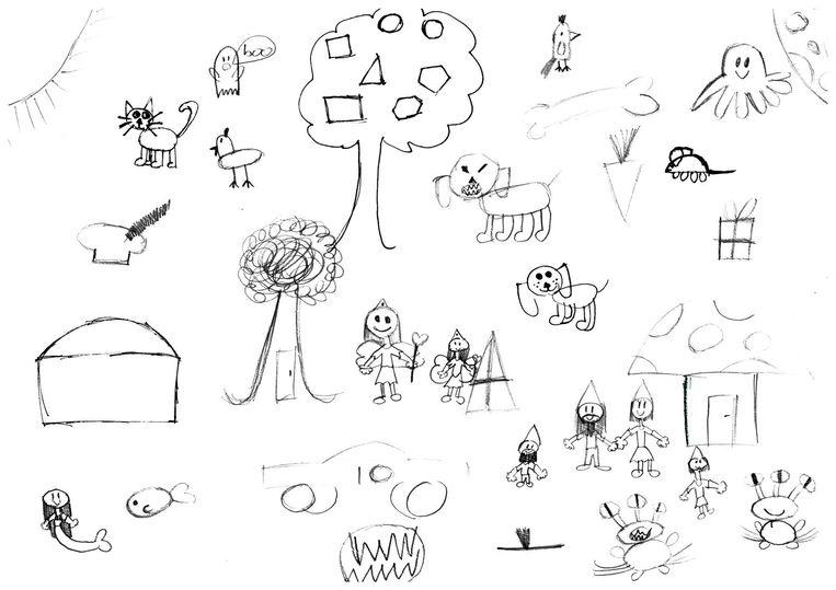Tekening van de 10-jarige Annelinde die laat zien hoe het voelt adhd te hebben. Beeld .