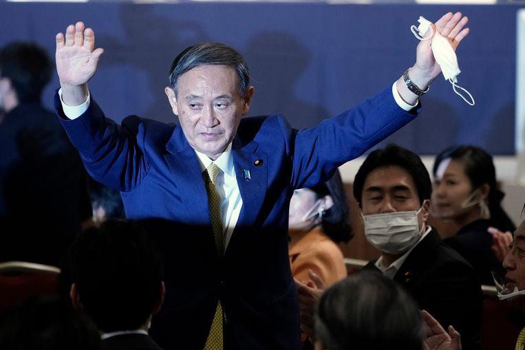 Yoshihide Suga reageert op zijn verkiezing als nieuwe leider van de Liberaal-Democratische Partij (LDP). Dat maakt hem waarschijnlijk ook Japans nieuwe premier.  Beeld EPA