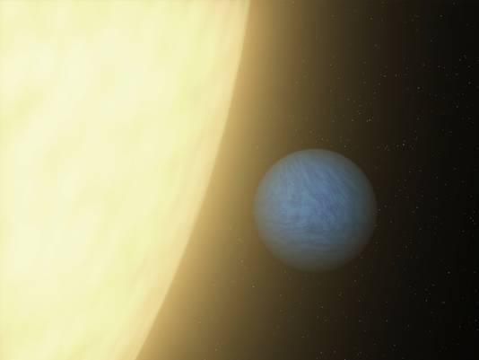 Een impressie van de planeet 55 Cancri e, verspreid door NASA.