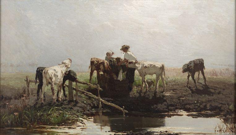 Willem Maris: Kalveren bij een trog (1863). Beeld null