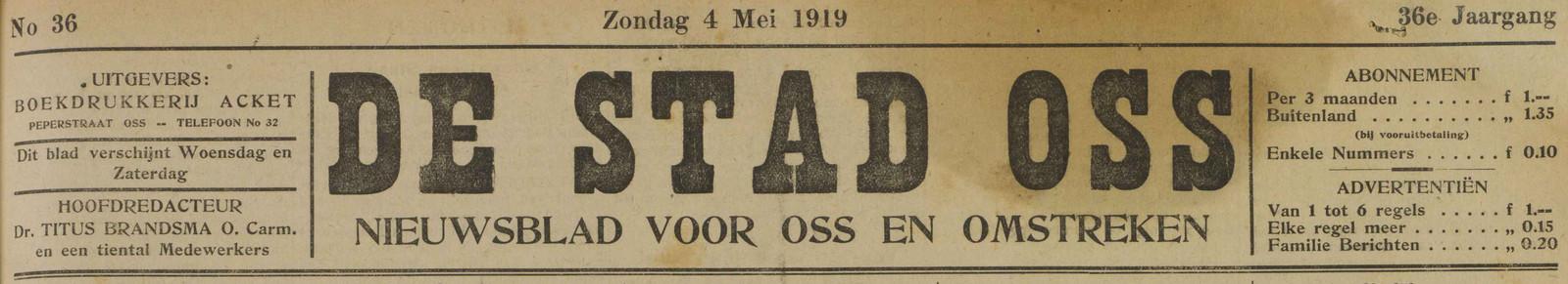 De eerste krant die Titus Brandsma op 1919 als hoofdredacteur afleverde.