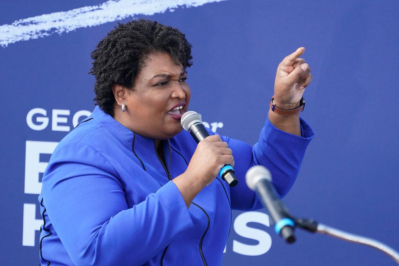 Stacey Abrams tijdens een Biden/Harris-campagnebijeenkomst. Beeld AP