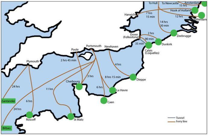 De kaart met alternatieve routes voor de oversteek van het Kanaal.