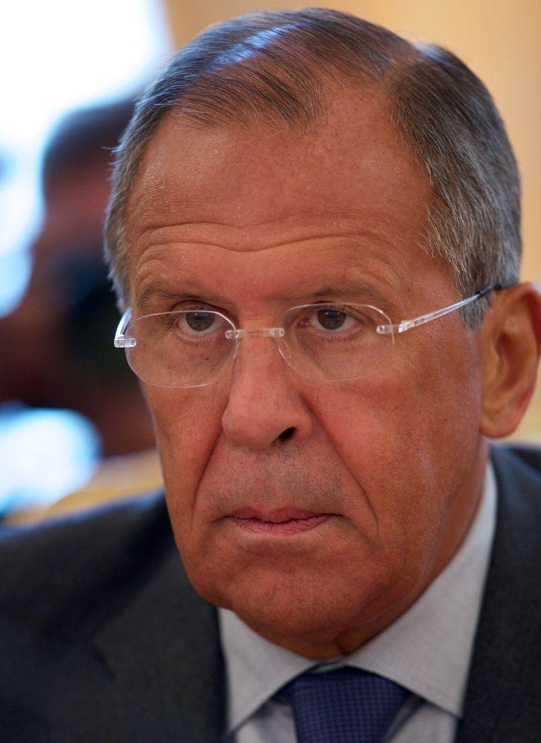 De Russische minister Sergej Lavrov van Buitenlandse Zaken. Beeld ap