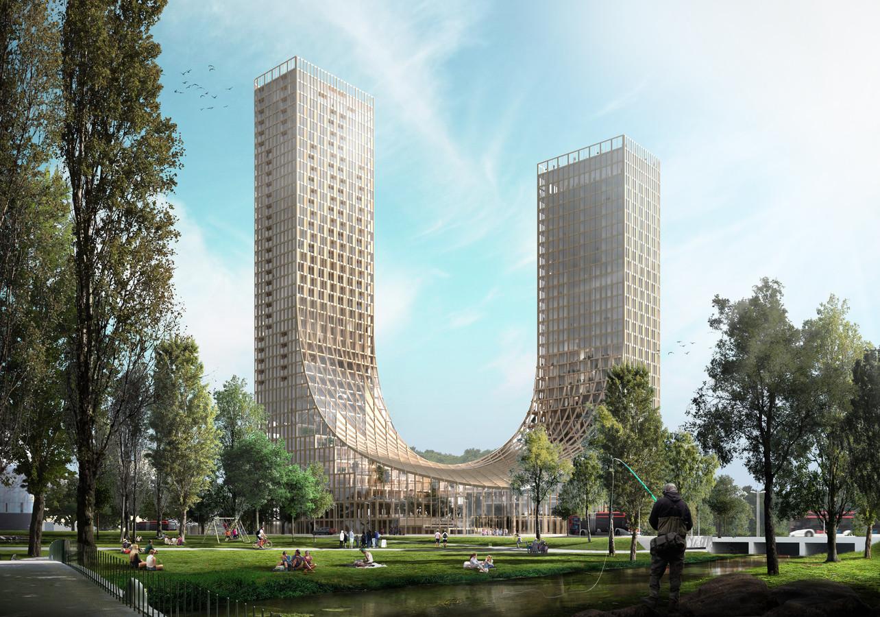 Ontwerpplan voor de Dutch Mountains, een grotendeels houten gebouw aan de Prof Dr. Dorgelolaan/Dommel in Eindhoven. Hier komt ook een congrescentrum.