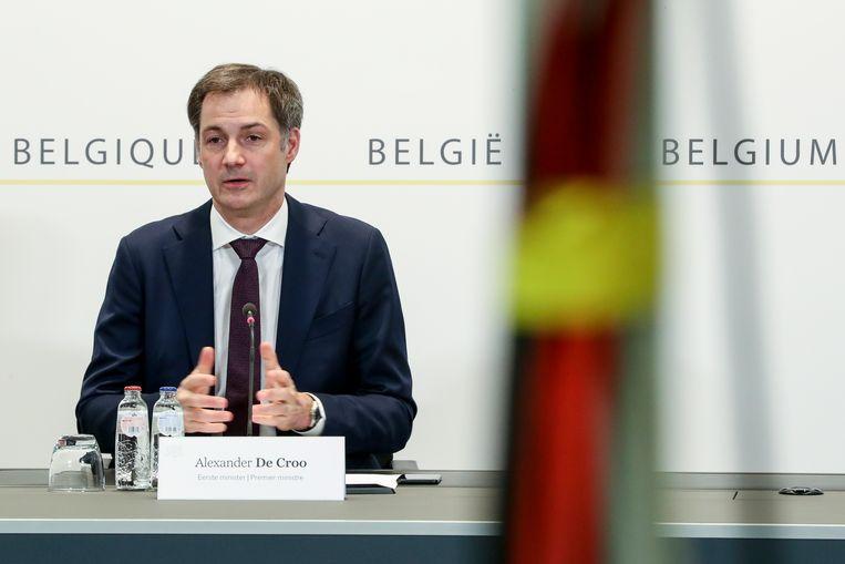 Premier Alexander De Croo tijdens het overlegcomité van vandaag. Beeld BELGA
