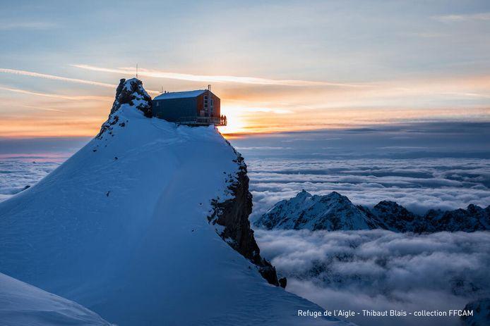 Het refuge de l'Aigle heeft op zo'n 3450 meter hoogte een bijzonder uitzicht.