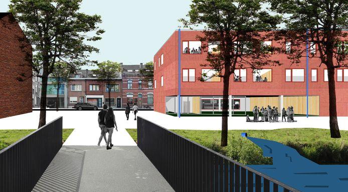 Simulatiebeeld Stroom in Leuven: het zicht vanaf Tweewaters.