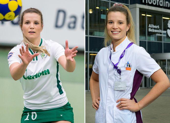 Zita Schröder als korfbalster van PKC en als verpleegkundige.
