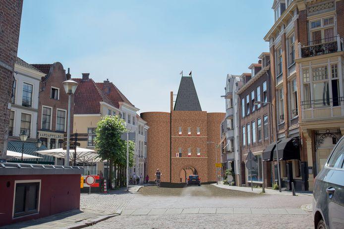 De andere kant van de vroegere Vispoort tussen Hofstraat en IJssel. Links restaurant 't Arsenaal en daarachter de parasols van grandcafé Dikke van Dale.