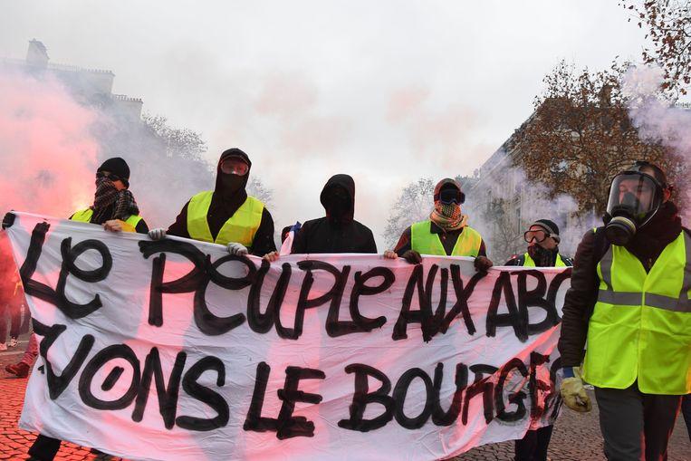 Rumoerig protest in Parijs. Beeld AFP