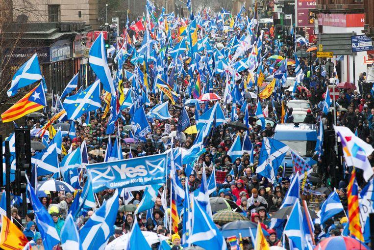 Demonstranten in het Schotse Glasgow zaterdag. Beeld EPA