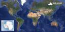 Dit is de route die Tom Boerman de komende jaren wil afleggen, met linksonder Antarctica.