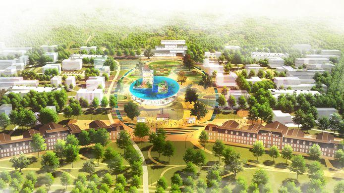 Een nieuwe impressie van hoe het World Food Center in Ede eruit zou kunnen gaan zien. Op de voorgrond de voormalige Maurits en Frisokazerne.