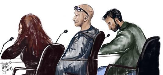 De verdachten: Stephanie B., Daniël van de W. en Batikan Y. tijdens de zitting in augustus. Dogucan Y. was toen afwezig. De verdachten en de raadslieden waren vandaag niet bij de uitspraak aanwezig.