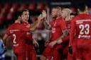 Thomas Verheydt wordt gefeliciteerd nadat hij de 3-1 heeft gemaakt voor Almere City.
