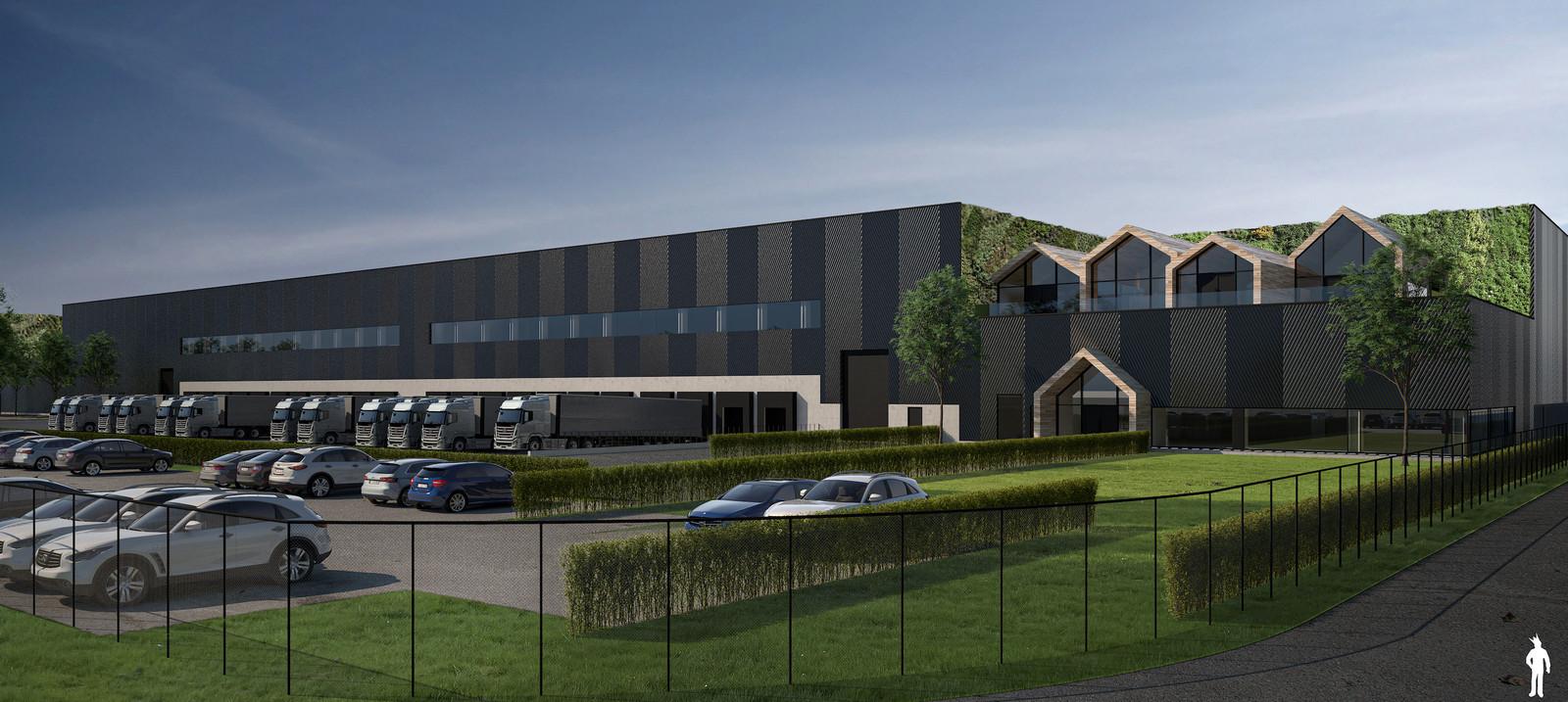 Een artist impression van de uitbreiding van Heylen op XL Businesspark in Almelo.