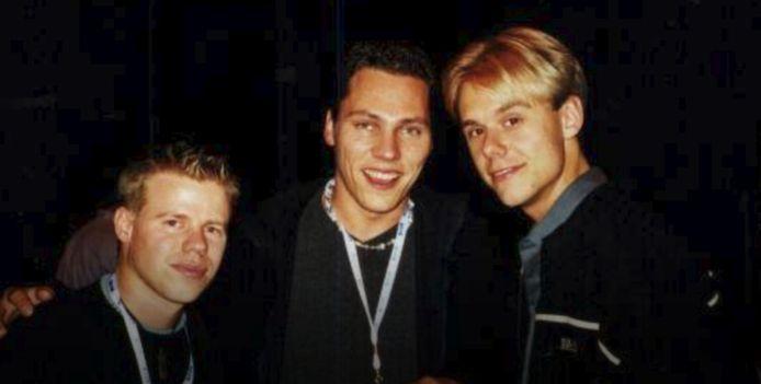 Van links naar rechts DJ's Ferry Corsten, Tiësto en Armin van Buuren in hun beginperiode