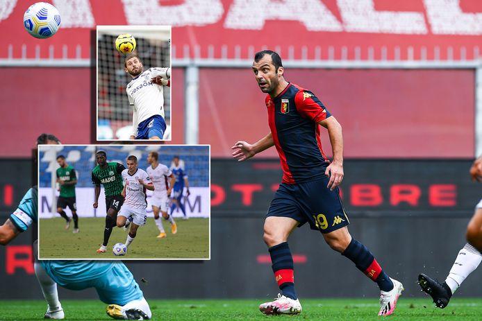 Drie mogelijke tegenstanders van Oranje volgend jaar zomer: Goran Pandev (Noord-Macedonië). Inzetjes: Arber Zeneli (Kosovo, boven) en Razvan Marin (Roemenië, onder).