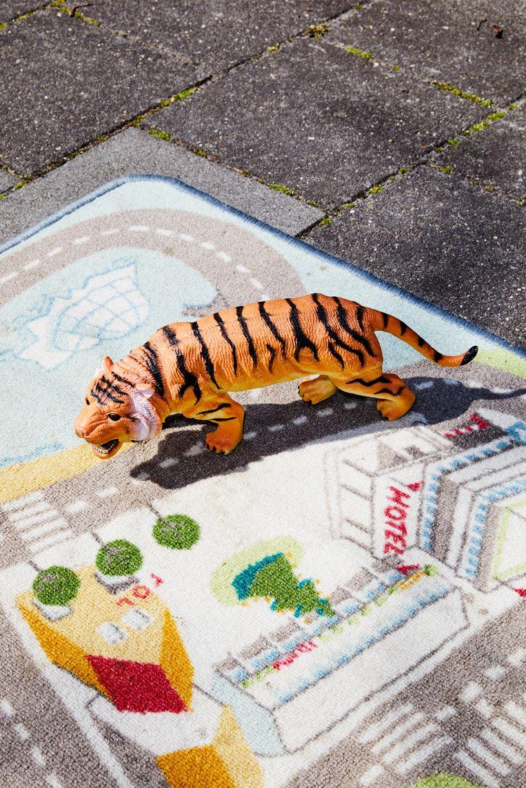 Plastic tijger voor in bad. Beeld Marie Wanders
