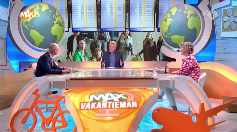 Max Vakantieman, met minister Stef Blok. Beeld NPO 1