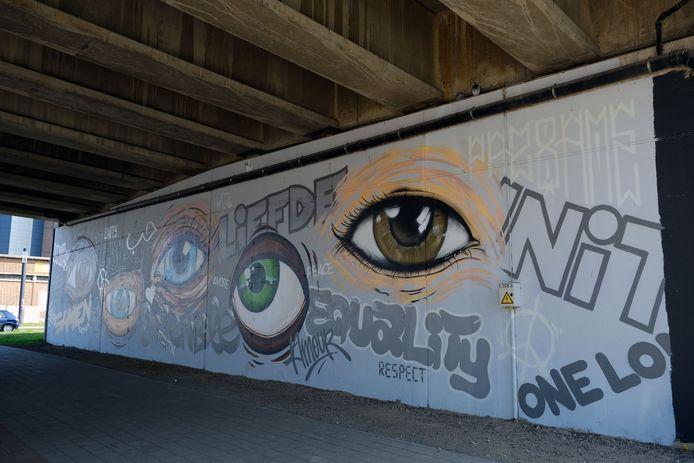 Deze graffiti aan de Vaartkom geeft mooi het samen-verhaal weer dat het Leuvense stadsbestuur in haar DNA draagt.