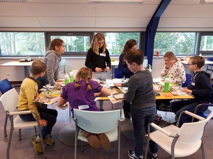 Voorbereidingen door kinderen uit de gemeente Heusden voor de Kinderklimaattop.