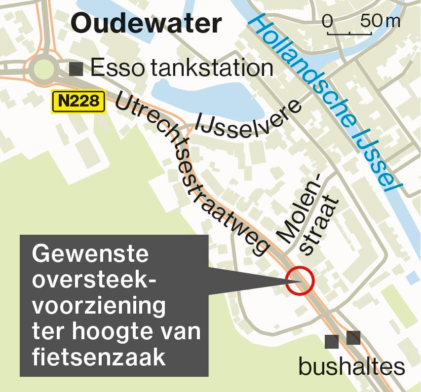 De locatie waar bewoners van de Utrechtsestraatweg graag een veilige oversteek zien