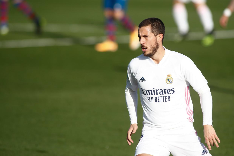 Eden Hazard wordt bij Real Madrid maar geen fitte topvoetballer. Beeld Photo News