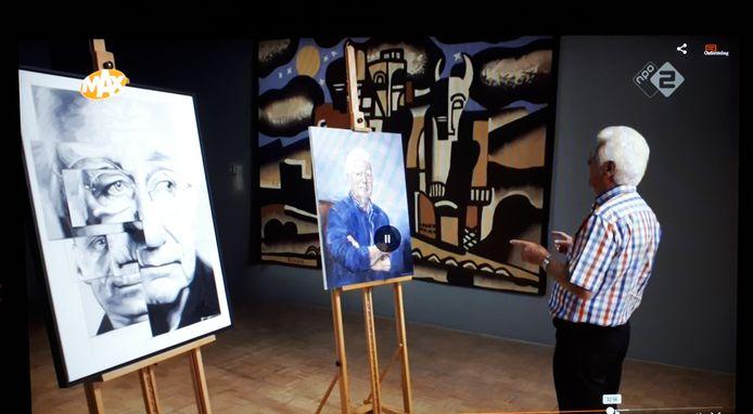 Fragment uit Sterren op het Doek van Omroep Max. Op de voorgrond het portret dat Tjeerd Zwinkels maakte van Gerard Cox.