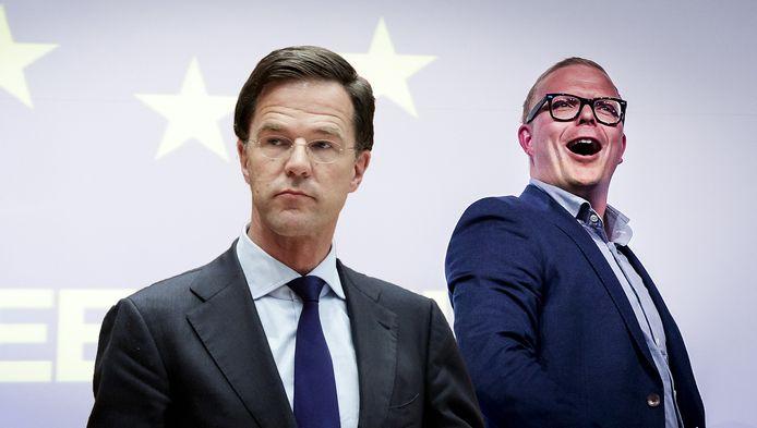 Mark Rutte en GeenPeil-initiator Jan Roos