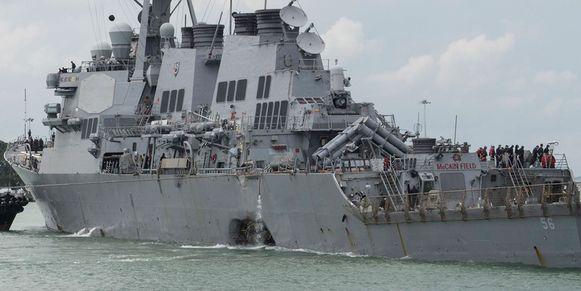 De Amerikaanse torpedobootjager USS John S. McCain werd gisterenmorgen aan de achterzijde geraakt door de tanker Alnic MC.