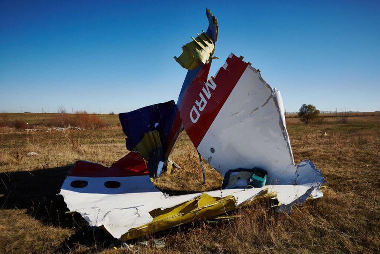 Onderdelen van de gecrashte vlucht MH17 in het oosten van Oekraïne, 100 dagen na het ongeluk.  Beeld ANP