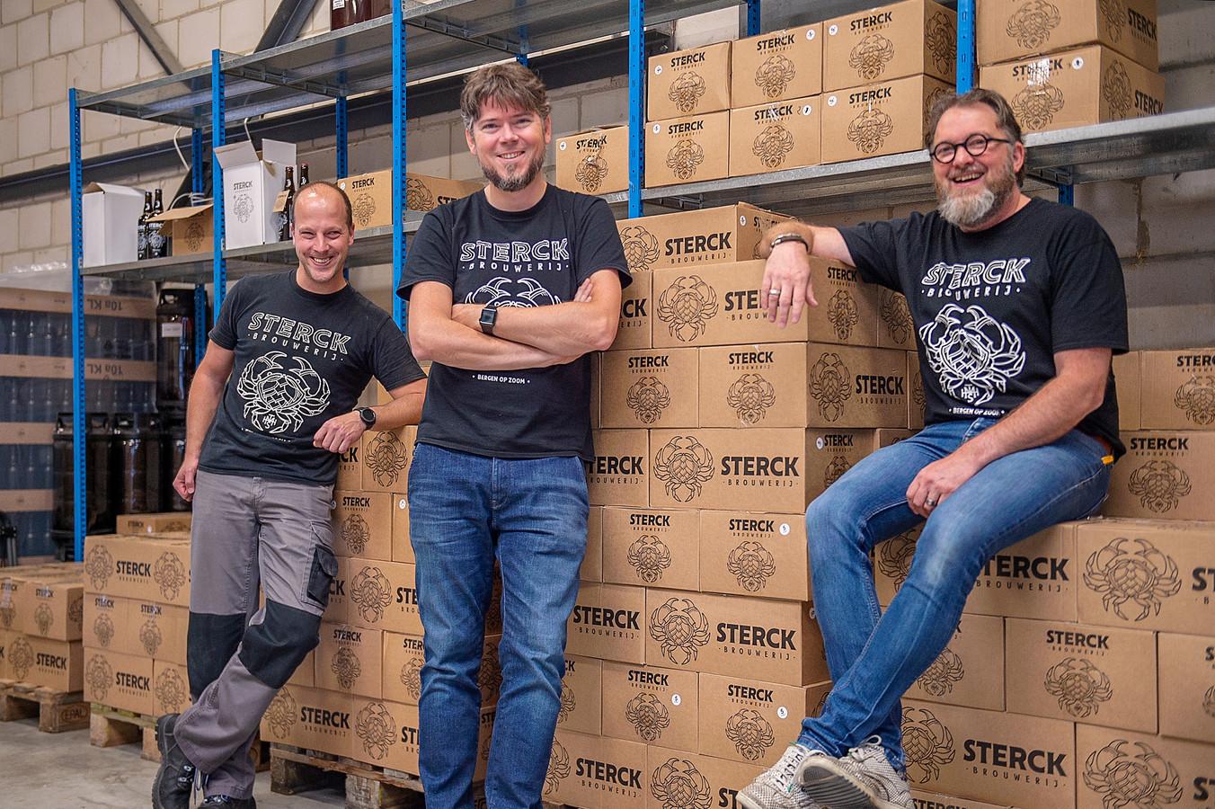 Bierbrouwers Joris Stoop, Maarten Touw en Bertram van Beers zijn de mannen achter Sterck, het Bergse biertje.