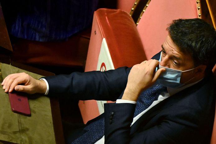 De Italiaanse oud-premier Matteo Renzi in de Senaat vorige maand.