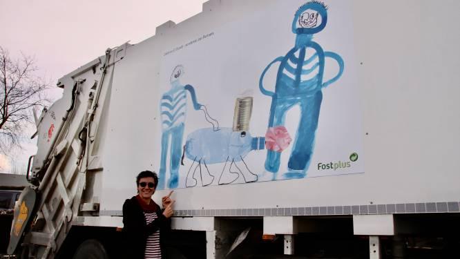 Kunstwerken van winnaars tekenwedstrijd Incovo prijken op ophaalwagens