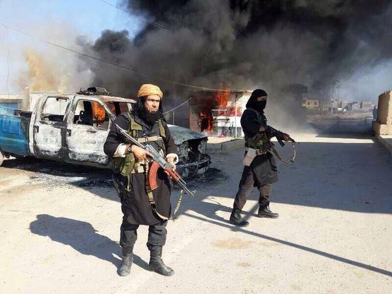 Archieffoto van IS-strijders in de provincie Anbar Beeld AP