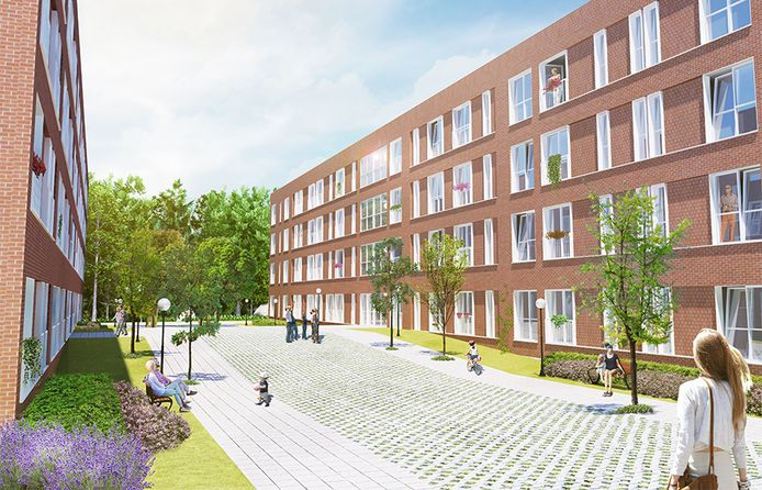 Het plan voor spoedzoekers aan het Heuvelplein en de Beukelaarstraat in Veghel is op de website van architect Forum 'Rembrandt' genaamd.