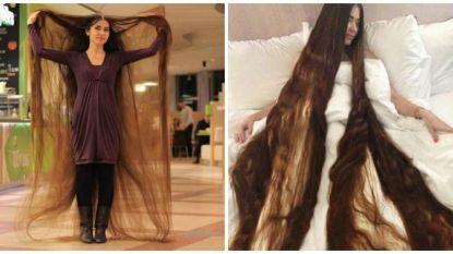 """Het haar van Aliia is 2,28 meter lang: """"Kammen duurt een uur, drogen een hele dag"""""""