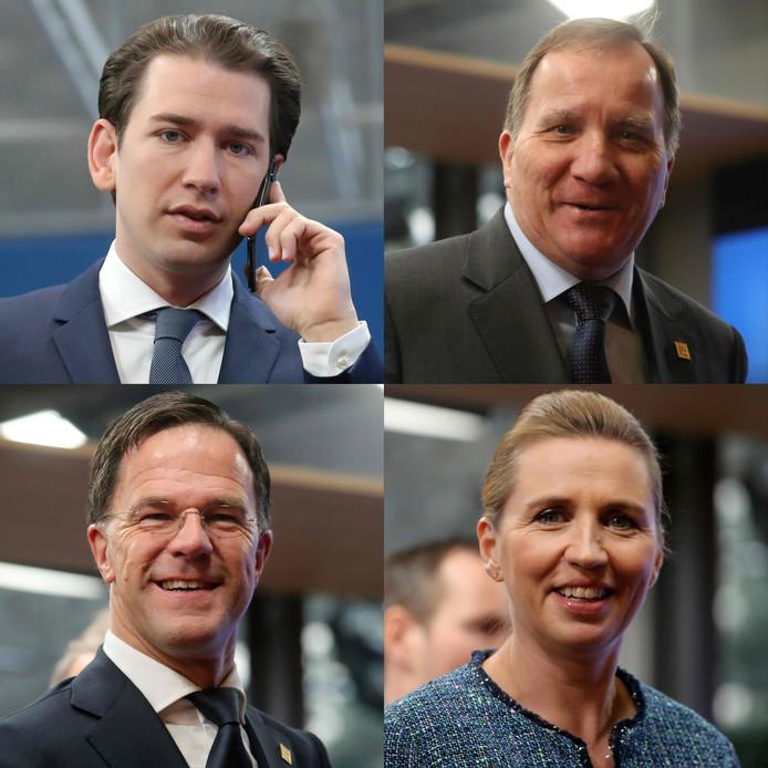 De Vrekkige Vier (vanaf linksboven met de klok mee): Sebastian Kurz, Stefan Lofven, Mette Frederiksen en Mark Rutte.
