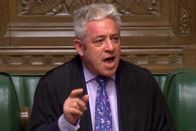 John Bercow, voorzitter van het Britse Lagerhuis, tijdens het debat over nieuwe brexit-stemmingen. Beeld AFP