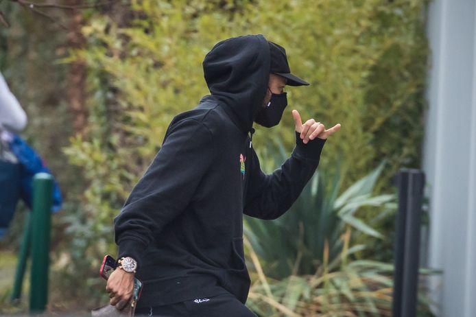 Neymar, eergisteren bij z'n aankomst op training bij PSG.