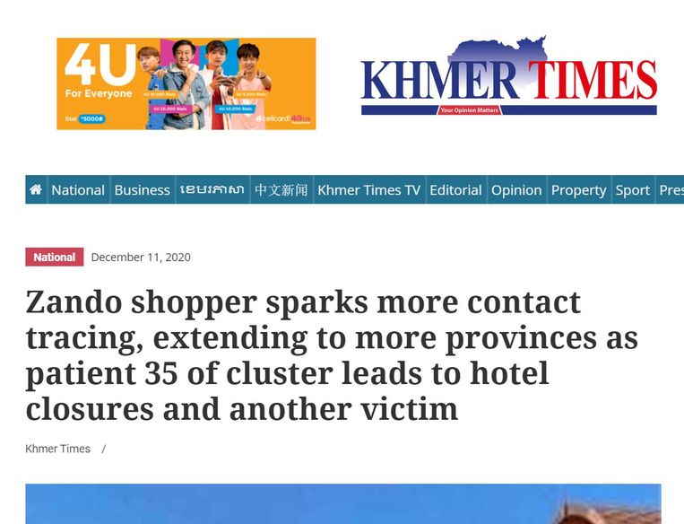 Onomwonden berichtgeving door de Khmer Times. Beeld