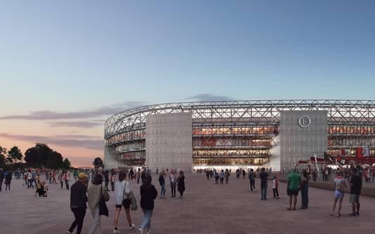 Zicht op het nieuwe stadion van Feyenoord.