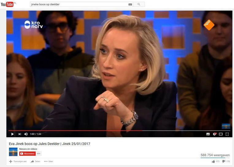 Met de trefwoorden Jinek boos op Deelder kan de YouTube-kijker het korte fragment terugkijken. Beeld
