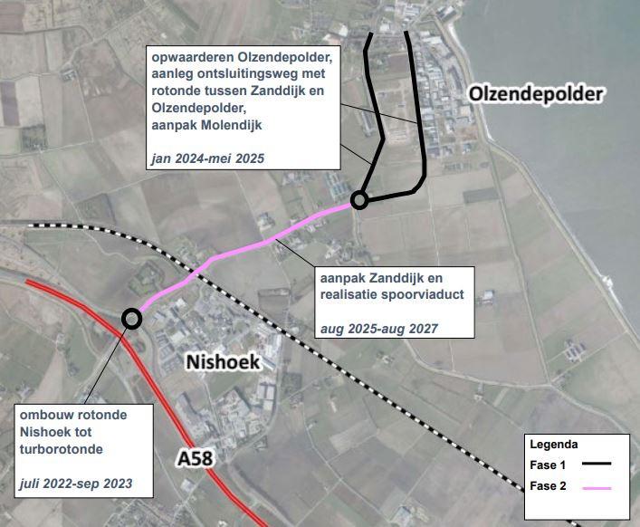 De provincie wil de aanpak van de Zanddijk tussen de A58 en Yerseke opknippen in drie fases.
