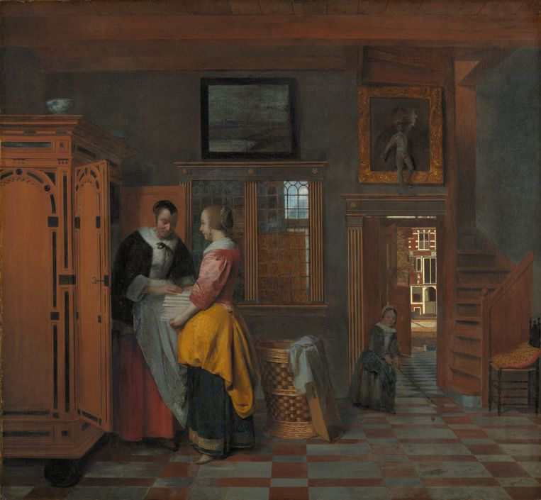 Pieter de Hooch, Binnenhuis met vrouwen bij een linnenkast, 1663. Doek, 70 x 75,5 cm. Rijksmuseum, Amsterdam (in bruikleen van de stad Amsterdam) Beeld rijksmuseum, Amsterdam
