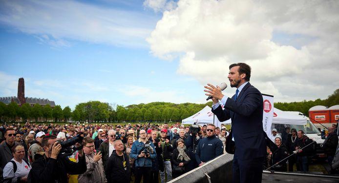 Partijleider Thierry Baudet tijdens een demonstratie van Forum voor Democratie.