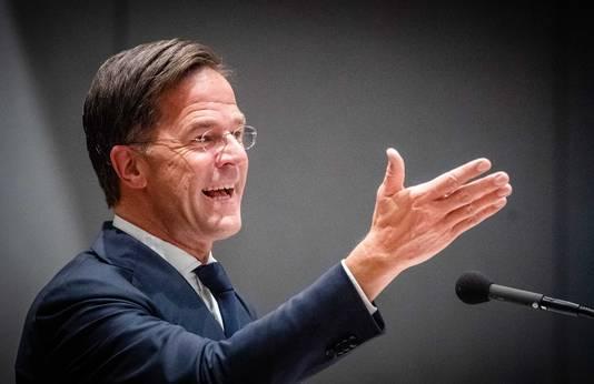 Demissionair premier Mark Rutte in de Tweede Kamer.