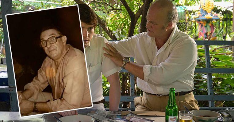 Links de échte Paul Siemons, rechts acteur Tim McInnerny, die zijn rol vertolkt in de Netflix-hit 'The Serpent'. Beeld Netflix